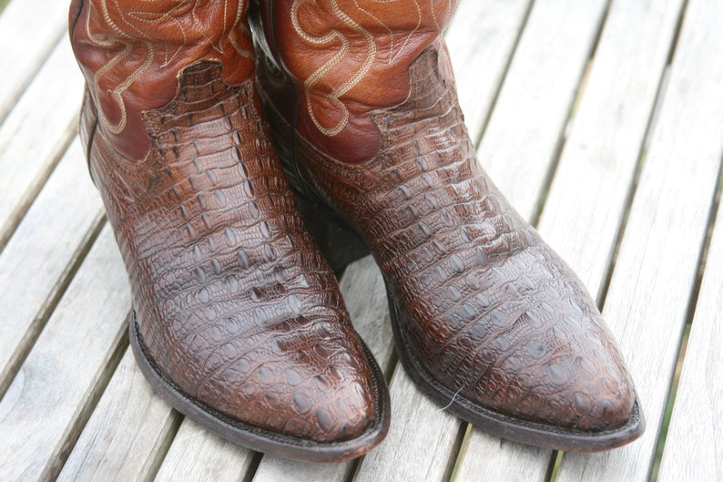 355252e7be2 Justin Hornback Lizard 9D Cowboy Boots Brown Vintage Rare Exotic Horned Back