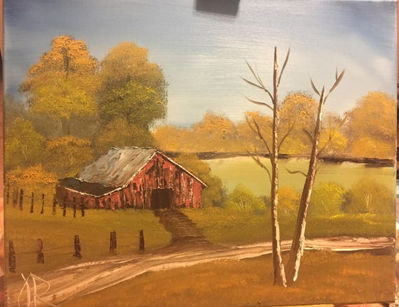 Bob Ross Style Landscape Oil Painting Red Barn In Autumn