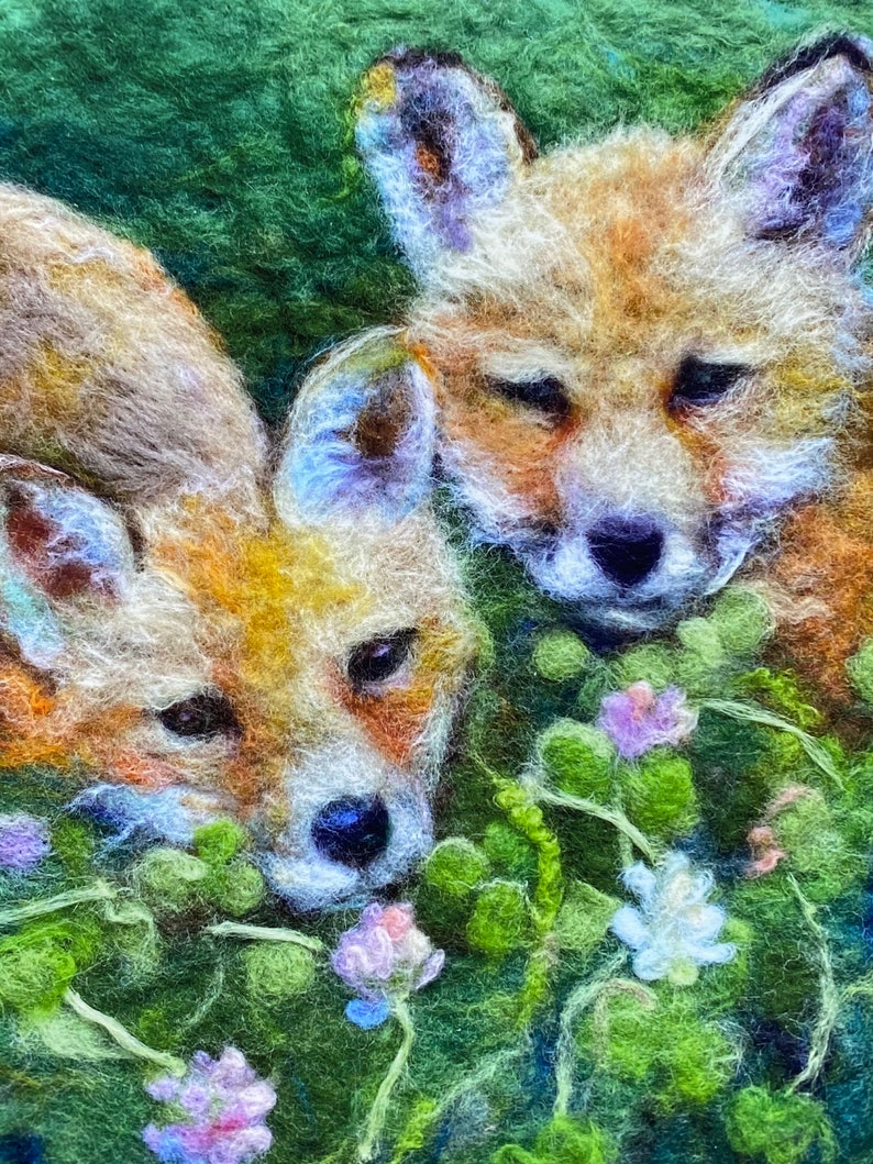 Print from my original felted art work with two young foxes