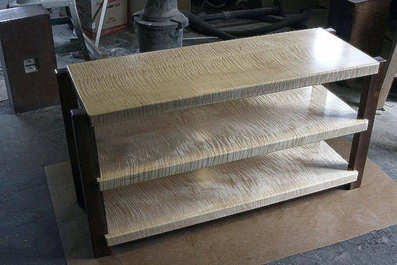 Enjoyable Timbernation Wide 3 Shelf Tiger Maple Hi End Stereo Rack Interior Design Ideas Gentotryabchikinfo