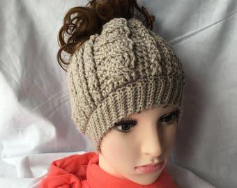 Cabled Messy Bun Beanie, Crochet Hat, Ponytail Beanie