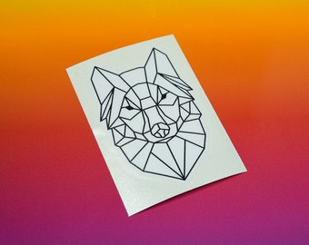 Geometric Wolf Vinyl Sticker