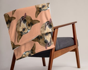 Custom Pet Blanket - Personalized Photo Picture Dog Cat Lover Gift Large Unique Made to Order Fleece Blanket Funny Customized Cut Out