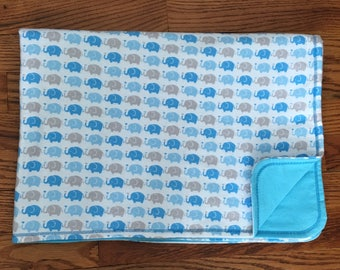 Blue/Gray Elephant Baby Blanket | Baby Boy