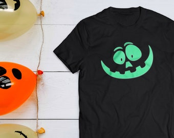 f170994d0a Halloween glow in the dark luminous creepy orange tshirt, horror scary  pumpkin tee shirt, funny trendy t shirts for mens, weird black tees