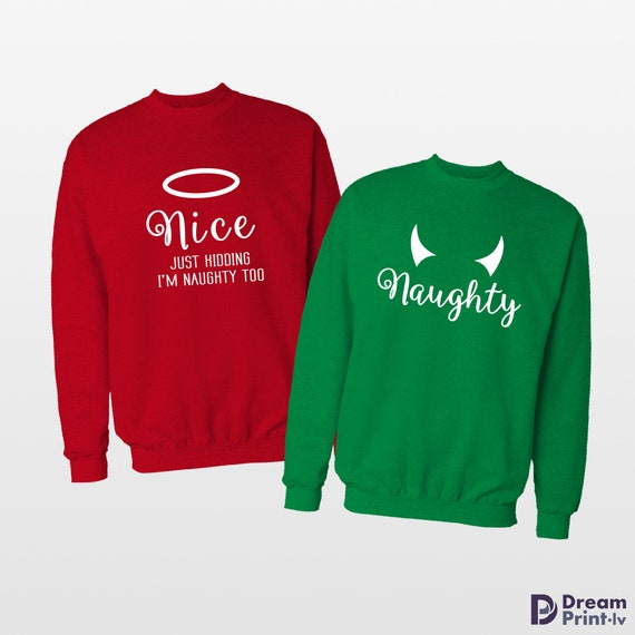 Christmas Sweaters For Couples.Naughty Or Nice Couple Sweaters Couples Sweatshirt Best Friend Gift Ugly Christmas Sweaters