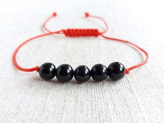 red string amulet bracelet good luck bracelet Mens Black tourmaline bracelet talisman bracelet protection jewelry