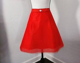 Women's Custom Made Red Taffeta Heart A-Line Skirt