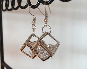 Earrings Silver Boxed Diamond-look