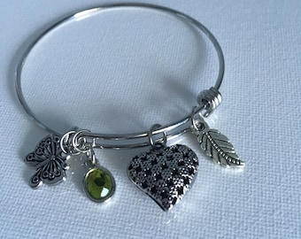 Butterfly message bracelet silver expandable bangle
