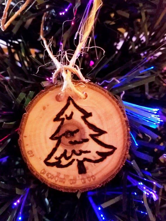 Burning Christmas Tree.Rustic Wood Burned Christmas Ornament Christmas Tree Design