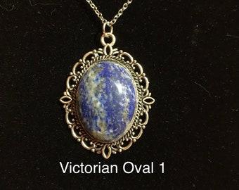 Lapis Lazuli Necklace, Natural Stone Jewelry, Lapis Lazuli with Calcite