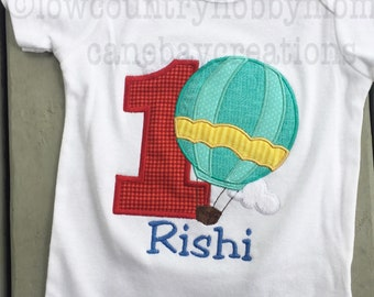 Personalized Hot Air Balloon Number Birthday Shirt