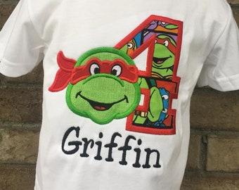 Personalized TMNT / Ninja Turtle Number Birthday Shirt