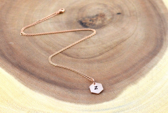 bridesmaids gift ideas dainty necklace name initial rose gold jewellery women rose gold jewelry Hexagon personalised rose gold necklace