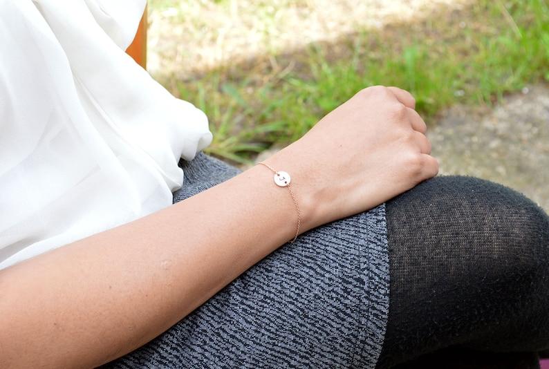 Custom Bracelet Chain Bracelet Rose Gold Bracelet Gifts for Her Name Initial Jewelry Dainty Bracelet Rose Gold Jewelry Disc Bracelet