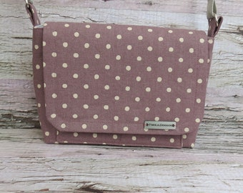Small Polka Dot Canvas Dog Walking Bag • Adjustable Crossbody Dog Training Bag • Gift for Dog Walker • Gift for Dog Mom