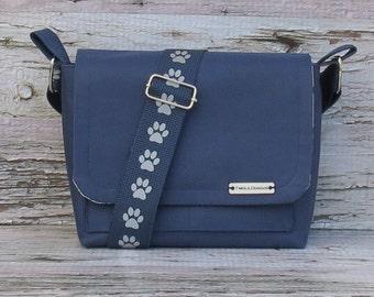 Water Proof Navy Blue Canvas Dog Walking Bag • Adjustable Dog Training Bag • Gift for Dog Walker • Gift for Dog Mom • Crossbody Bag
