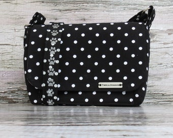 Small Black and White Canvas Dog Walking Bag • Crossbody Dog Training Bag with an Adjustable Strap• Gift for Dog Walker • Gift for Dog Mom •