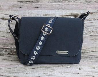 Small Blue Canvas Dog Walking Bag • Adjustable Crossbody Dog Training Bag • Gift for Dog Walker • Gift for Dog Mom