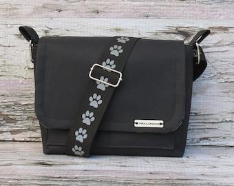 Water Proof Black Canvas Dog Walking Bag • Adjustable Dog Training Bag • Gift for Dog Walker • Gift for Dog Mom • Crossbody Bag