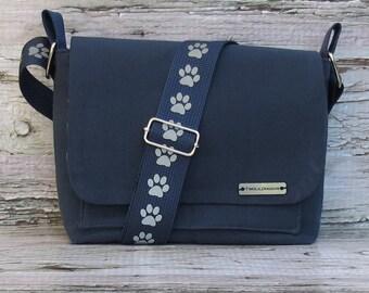 Blue Canvas Dog Walking Bag • Adjustable Dog Training Bag • Gift for Dog Walker • Gift for Dog Mom • Crossbody Bag