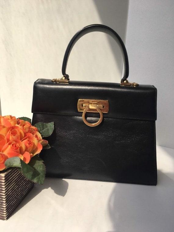Vintage Salvatore Ferragamo Gancini Bag   Kelly Bag   Top   Etsy fd044b976a