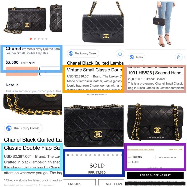 070a0ab1 Chanel Small Classic Double Flap Bag Black Lambskin Gold Hardware GHW  Authentic Vintage