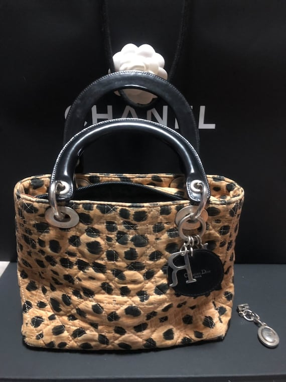d78f5a073e4 Authentic Christian Dior Bag Lady Dior Cannage Leopard Top   Etsy