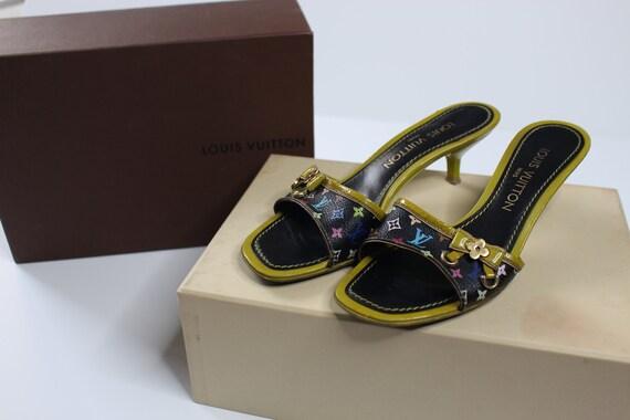 Louis Vuitton Multicolor Sandals Kitten Heels Slip