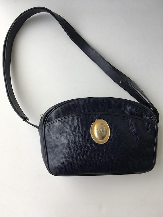 Authentic Christian Dior Shoulder Bag Ghw Good Blue Leather   Etsy cc2776973f