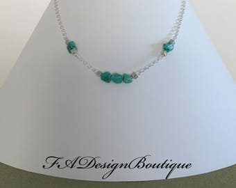 Turquoise Nuggets and Sterling Silver Necklace