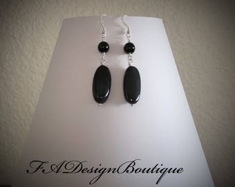Elegant, Black Onyx Dangle Earrings