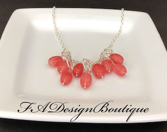 Cherry Quartz and Sterling Silver Necklace