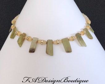 Green Garnet, Yellow Aragonite Necklace