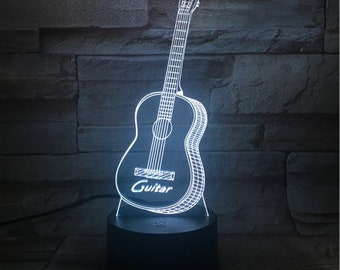 Guitar lamp etsy guitar 3d optical illusion lamp night light bedroom decor desk lamp acrylic lamp led lamps led modern lamp table lamp aloadofball Images