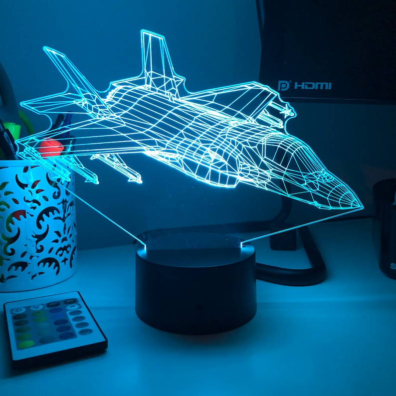 Military F-35 Lightning II Multi-Role Fighter Jet 3D Optical Illusion Lamp