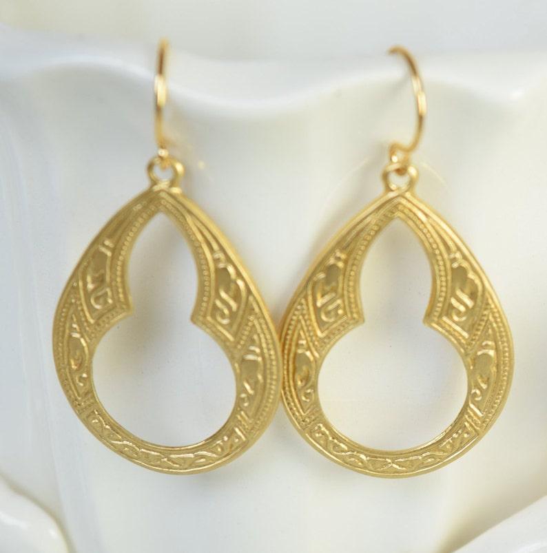 Art Deco Ohrringe gold Platte Haken Hebelreifen Boho Schmuck Geschenk für Sie