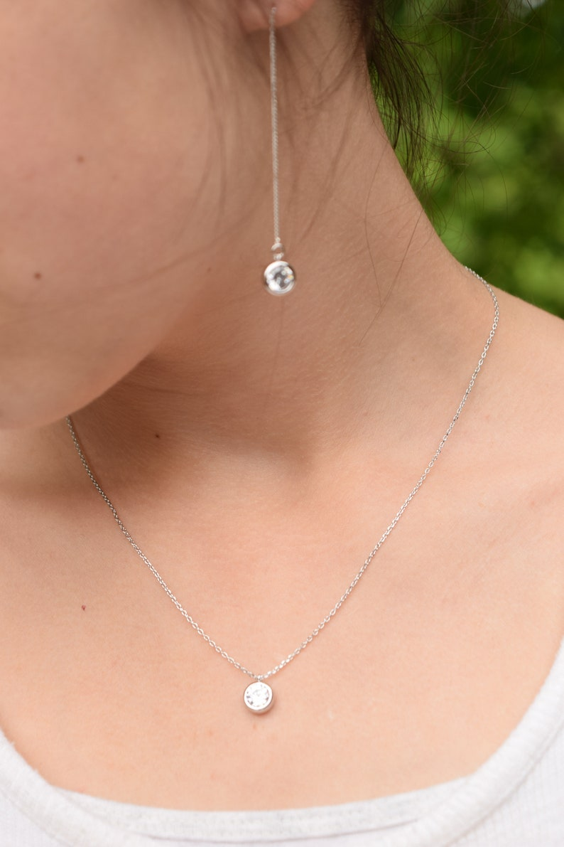 Stunning CZ white rose gold 16-18in diamond look prom wedding bridal April Mother/'s day gift for her Minimalist cz pendant necklace