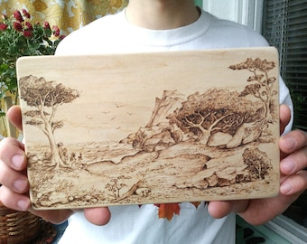 Sunny Coast Hanging Art Rustic Artwork Wall Picture Nature Wooden Gift Shelf Decor Home Landscape Wood Burning Pyrography