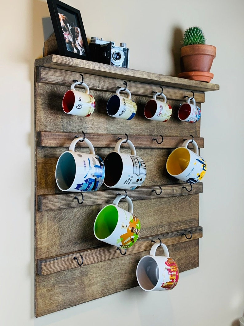Coffee Mug Holder with Display Shelf Wall Mounted Coffee Mug image 0