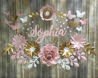 Paper flower backdrop etsy paper flower backdrop for nursery decoration girly room fun decor wall art pink rainbow colors quinceaera birthday decoration mightylinksfo