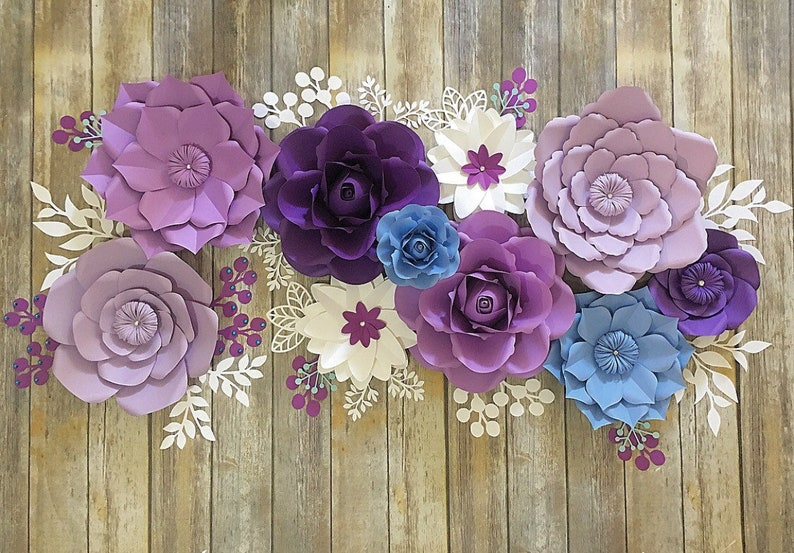 Purple Paper Flowers Wall Decor For Girl Nursery Paper Flowers Over Crib Purple Paper Flowers Backdrop Paper Flowers Baby Shower
