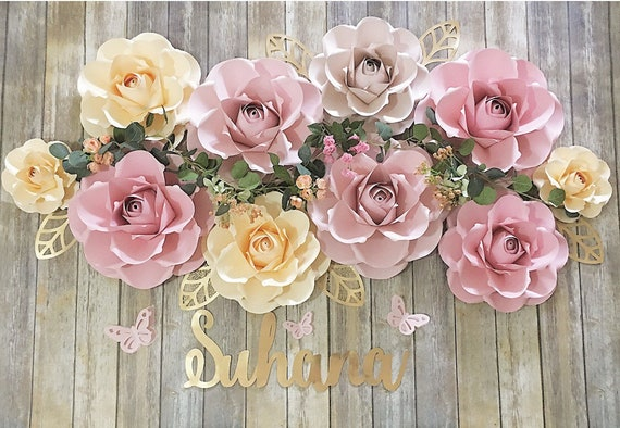 Paper Flowers Backdrop Party Decoration Photo Wall