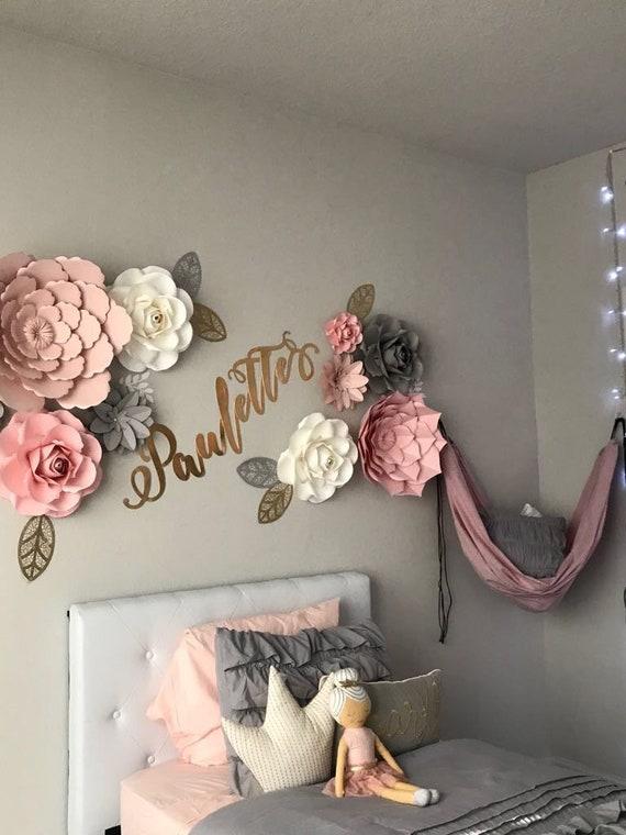 Girl Room Decor Wall Paper Flowers Backdrop Nursery Wall Etsy