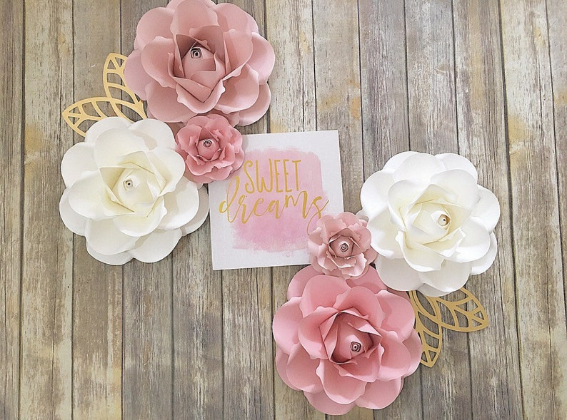 Paper Flowers Wall Decor Girls Paper Flowers Room Decor Nursery Decor Pink Gold Paper Flowers Blush Pinks Paper Flower Backdrop Baby