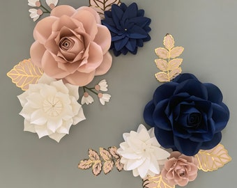 Paper Flowers Wall Decor, Paper Flowers for Girls Room, Floral Nursery, Navy and Blush Pink paper flowers with gold leaves