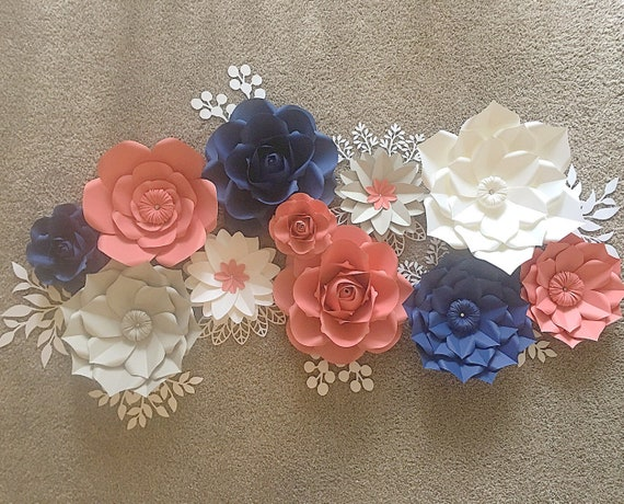 Paper flowers wall decor nursery decor navy coral paper etsy image 0 mightylinksfo