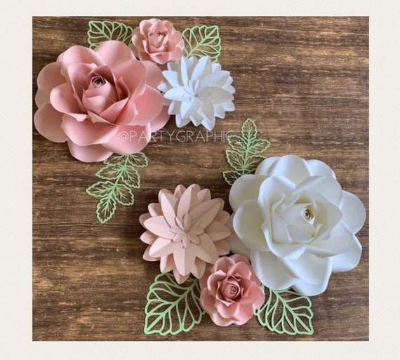 Paper Flowers Wall Decor Paper Flowers For Girls Room Floral Nursery Blush Pink Paper Flowers With Green Leaves