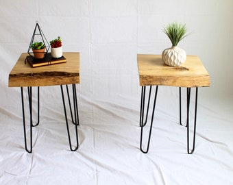 Wood End Tables / Live Edge Nightstand / Nightstands / Live Edge End Table  / Live Edge End Tables / Slab End Table / Sl